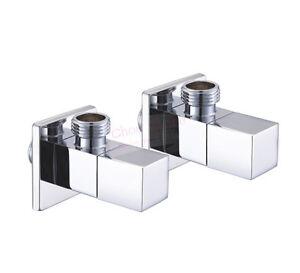 2PCS-New-Chrome-Square-Brass-Bathroom-Angle-Stop-Valve-1-2-034-Male-Thread-D32