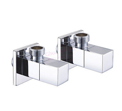 "2PCS New Chrome Square Brass Bathroom Angle Stop Valve 1//2/"" Male Thread D32"