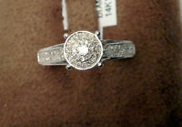 Sale 14k White Gold Halo Vintage Antique Style Diamonds Engagement Promise Ring
