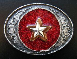 COWBOY-COWGIRL-SHERIFF-STAR-WESTERN-RED-GLITTER-BELT-BUCKLE-BUCKLES