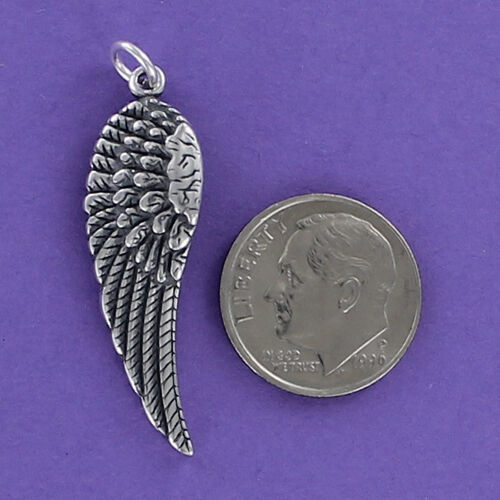 Angel Wing Charm Sterling Silver 925 for Bracelet Feathers Fairy Single NEW