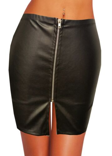 NEW BLACK LEATHER LOOK WITH ZIP FITTED BODY CON MINI SKIRT SIZE 4 TO 24