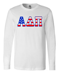 3b0aff6f Details about Alpha Delta Pi Bella + Canvas Long Sleeve Shirt ADPI USA  American Flag Letters