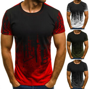 Mens-Short-Sleeve-T-Shirt-Slim-Fit-Casual-Tops-Clothing-Bodybuilding-Muscle-Tees