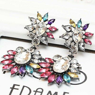 Exquisite New design women gorgeous bib statement S&W crystal long Earrings e332