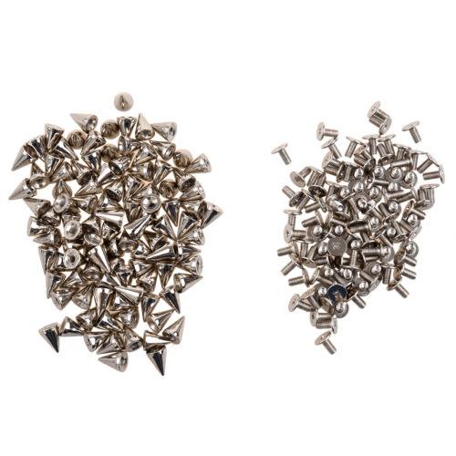 100pc 9.5MM DIY Rivets Craft Cool Silver Cone Spikes Screwback Studs Punk Silver