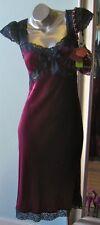 Vintage 90s BETSEY JOHNSON Burgundy Wine Velvet Silk Lace Mini Dress 10 M L