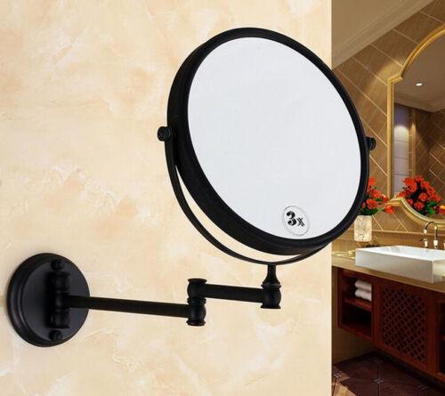 """Noir 8/"""" MIROIR GROSSISSANT pour salle de bain maquillage mural bras oscillant 3X 2-verso"""
