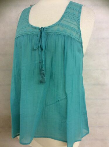 Ladies Womens 100/% Pure Cotton Mint Green Lace Sleeveless Vest Top Size 8 12