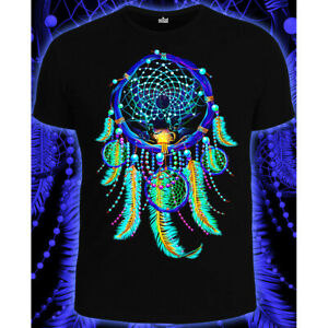 """Herren T-Shirt """"Dream Catcher"""" mit Druck UV aktiv Schwarzlicht Neon PSY"""