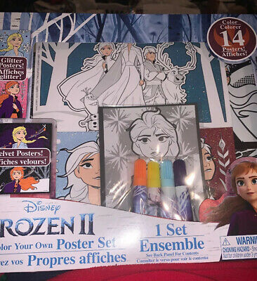 New Disney Princess Color Your Own Poster Set 14 Posters Coloring Velvet