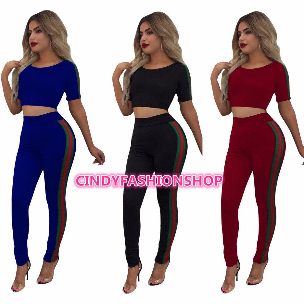 f9b580a86d5 Cindy Fashion Short Sleeve Crop Top Long Pants Body con Jumpsuit Casual 2  pcs