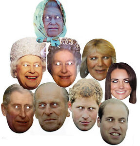 NEW CELEBRITY FACE PARTY MASK HEN WHOLE ROYAL FAMILY STAG DO MASKS FUN QUEEN