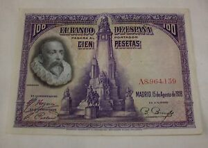Spain-1928-100-pesetas-banknote-Cervantes-amp-Don-Quixote-Scarce-XXF-condition
