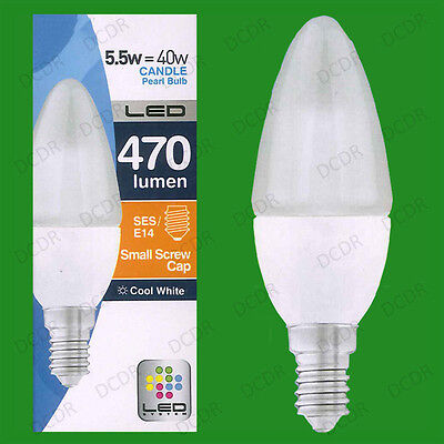 6x 5.5W LED Candle Cool White 4000K Light Bulbs SES E14 Instant On Lamps Globes