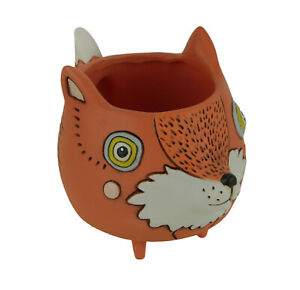 Allen-Designs-Orange-Ceramic-Baby-Fox-Indoor-Outdoor-Decorative-Planter-Pot