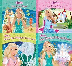 Barbie-4-Livre-Ensemble-Lost-Perle-Frog-Prince-Magique-Licorne-Moon