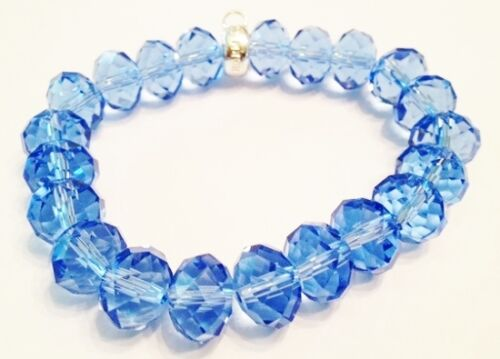 LOVELY BLUE FACETED CRYSTAL BRACELET WITH CARRIER TO CLIP  CHARMS ON TO NEW