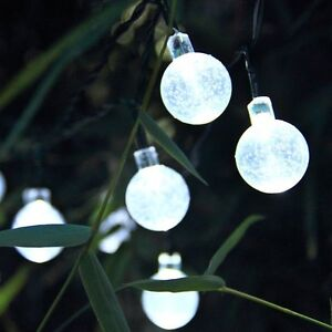 Image Is Loading 30x Globe Ball Fairy Lights White Led Solar