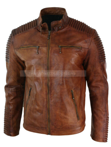Biker Men's Style Racer Jacket Leather Vintage Brown Distressed Wax Cafe gqqHUnFd