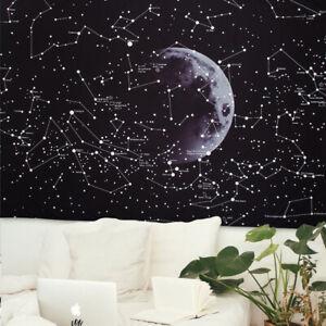 Tapiz de luna y estrellas Colgante de Pared Decoración para hogar Manta Colcha