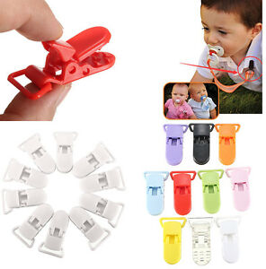 10x-Schnullerhalte-Clip-on-Baby-Schnullerkette-Schnuller-Babyclip-T-Clip-PAL