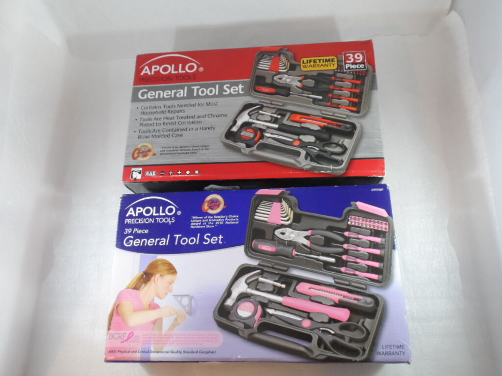 His and Hers 39 Piece Tool Sets (2 complete sets in hard cases) by Apollo Tools