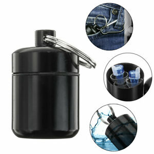 1-2X-Chain-Key-Waterproof-Metal-Pill-Box-Holder-Organiser-Dispenser-Case