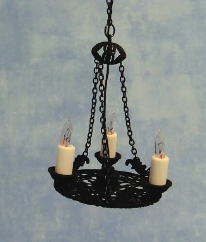 Dollhouse  Miniature Hanging Chandelier Electric Candles Tudor Style 1:12 Scale