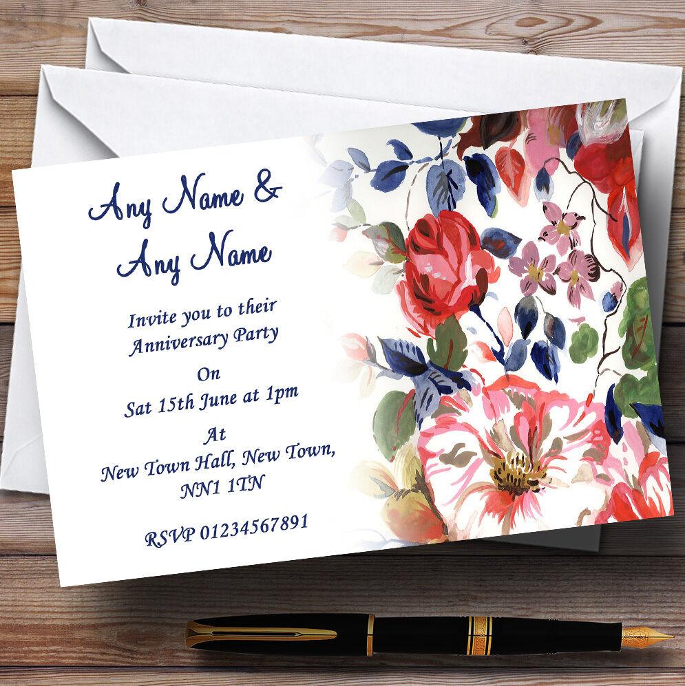 Pretty Blau Vintage Floral Wedding Anniversary Party Personalised Invitations