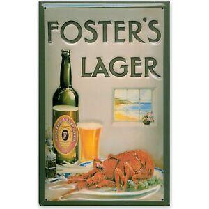 FOSTERS LAGER LOBSTER Vintage Metal Pub Sign3D Embossed SteelHome Bar