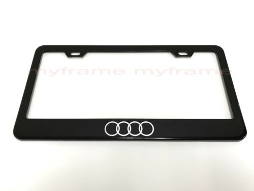 *4 RING LOGO* BLACK Metal License Plate Frame Tag Holder with Caps