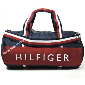 4e71188729 Details about TOMMY HILFIGER NEW LARGE DUFFLE BAG GYM BAG NWT NAVY BLUE RED  WHITE VERY NICE