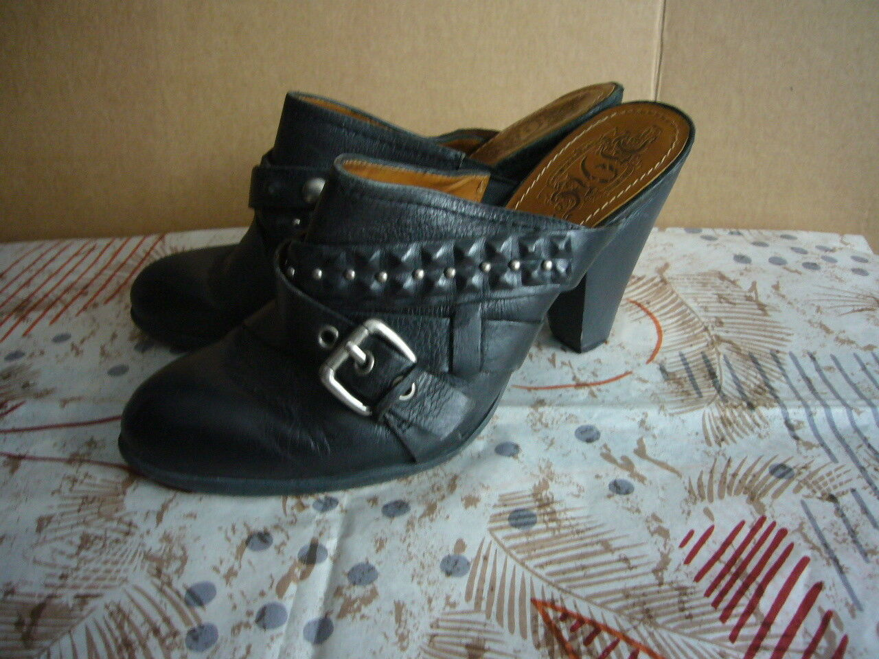 Nine West Vintage America collection Mule - Size 9.5 - Black Buckles and Studs