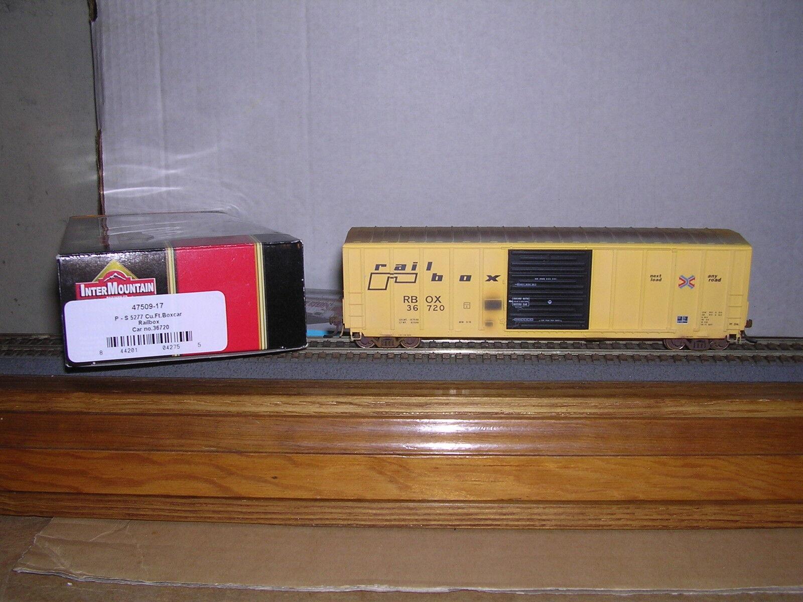 INTER. 47509 Railbox  giallo  P.S.5277 Cu.Ft.Ext.Post Box Car  36720 Weath. 1/87