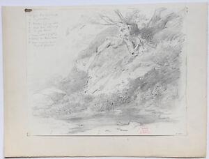 Andre Giroux Dessin Etude D'arbre Au-dessus Du Reichenbach