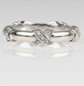 Tiffany-amp-Co-Diamond-Signature-X-Ring-18K-750-White-Gold-Band-E-F-VS1-Ring-Box