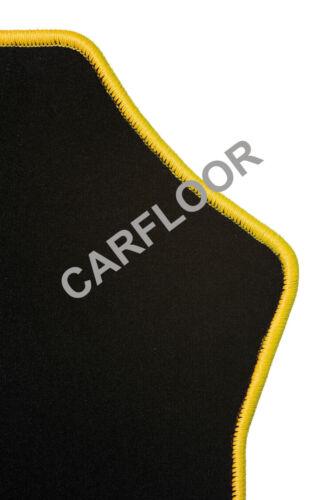 Für Mini F57 Cabrio Bj ab 03.2016 Fußmatten Velours schwarz mit Rand gelb