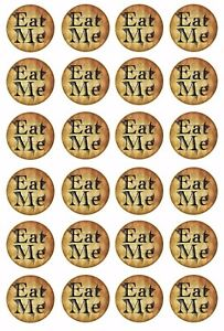 24 x EAT ME Cupcake Toppers ALICE IN WONDERLAND Wafer Rice Paper Cake Decoration
