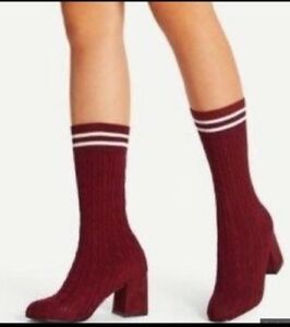 be7b0071aa Image is loading CATHERINE-MALANDRINO-PULLEY-WOMENS-BURGUNDY-CABLE-KNIT-SOCK -