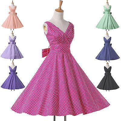 2015 Retro A-Line Polka Dots 1950'S PINUP SWING VINTAGE WOMEN'S DRESS