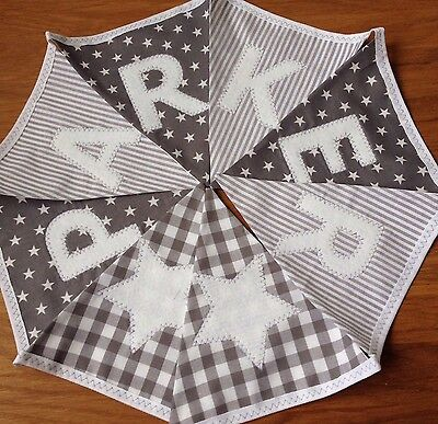 PERSONALISED FABRIC BUNTING New baby.  Grey White Spots Stars Stripes