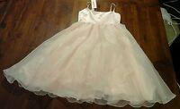 Baby Pink Flower Girls Dress Sz8 Satin Feel Sheer Skirt Free Postage C100