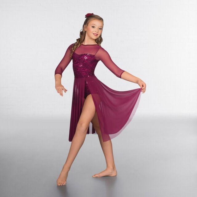 c68f26d61 1st Position Burgundy Sequin Lace Crop Sleeved Lyrical Dance Dress ...