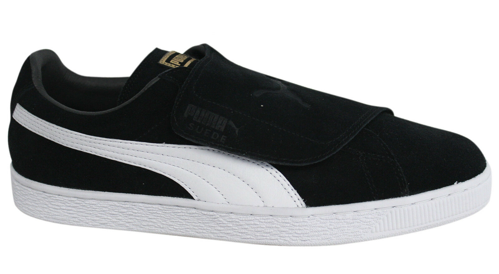 Puma Suede Strap Up Black Leather Mens Trainers 363653 03 D80