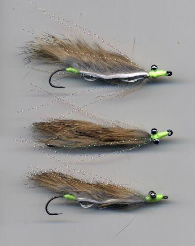 Snake Flies x3  size8 hook UK tied Trout Flies code 636 Mini Mouse Marauders