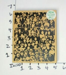 Wooden-RUBBER-STAMP-Lrg-Block-Background-JudiKins-2245-J-People-Party-Hats
