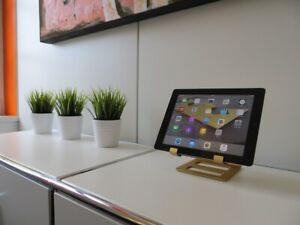 Luxus-iPad-Halterung-Aluminium-GOLD-mit-Leder
