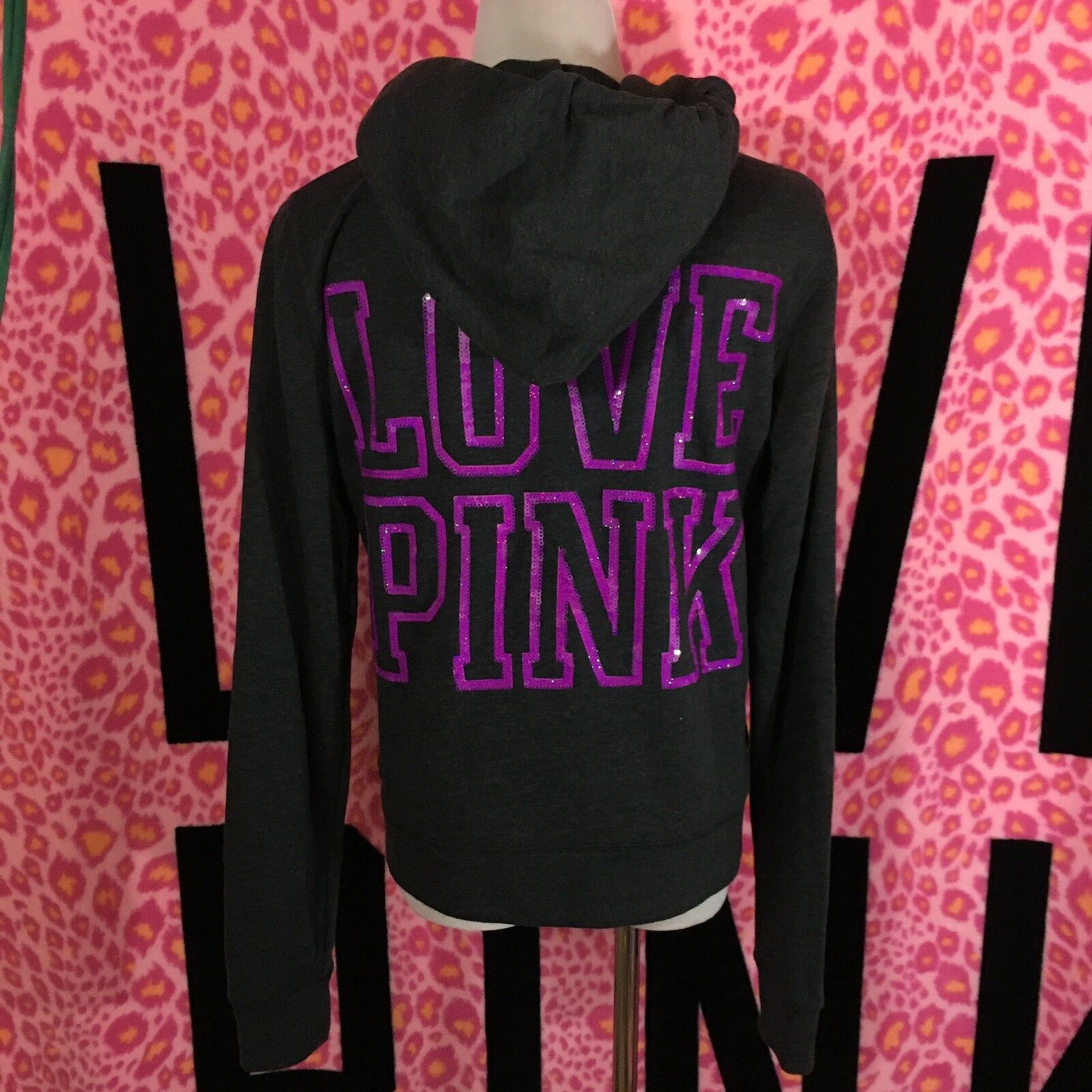 Victoria's Secret PINK Bling Sequin Hoodie Sweatshirt Medium M NWT RARE