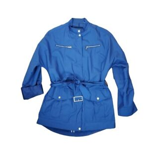 Cole Haan Womens Small Blue Lightweight Roll Tab Sleeve Rain Trench Coat Jacket